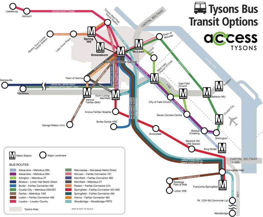 Map of bus transit options